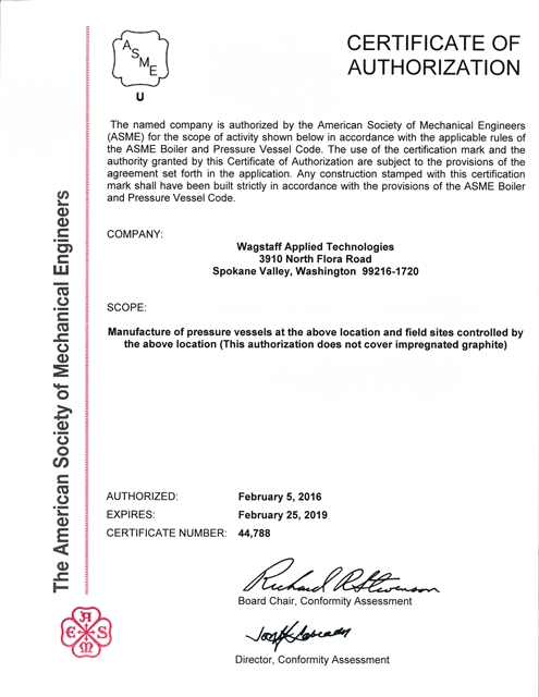 Wagstaff AT Is Recognized By The National Board Of Boiler Pressure Vessel Inspectors As Authorized To Affix ASME U Stamp Code Compliant Vessels